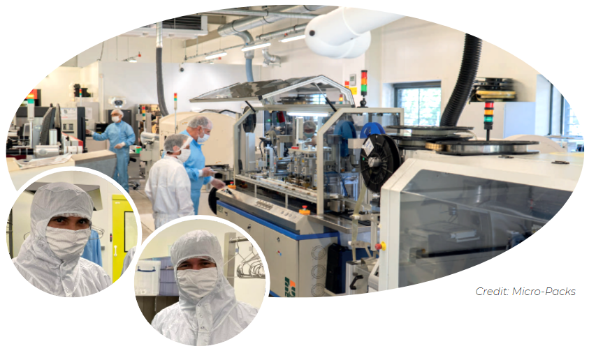 R&D development in ISO 5 microelectronics cleanroom: Micro-Packs platform, managed by EMSE