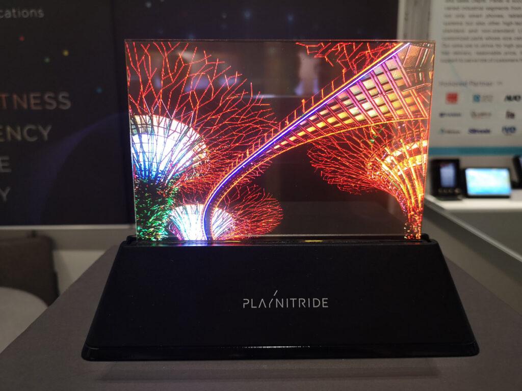 "Transparent 7.56"" MicroLED display_PlayNitride_Display Week 2019_Yole Developpement"