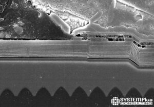 MiniLED Backlight Unit in the 2021 Apple iPad Pro - MiniLED die cross-section – SEM View - System Plus Consulting